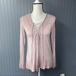Women's American eagle lace up long sleeve tee S